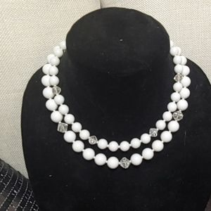 "Vintage white 2 strand necklace 15"""